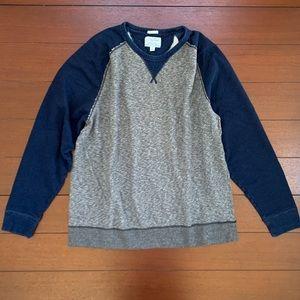 Lucky Brand Grey Label Gray Blue Raglan Sweatshirt